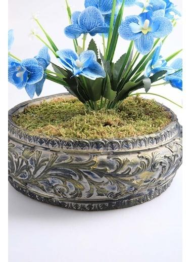 Kibrithane Çiçek Yapay Çiçek Beton Saksı Mini Mavi Kumaş Orkide Kc00200805 Renkli